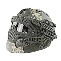 HYOUT Fast Tactical Helmet Combined with Full Mask and Goggles for Airsoft Paintball CS (ACU)