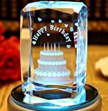 3D Birthday Cake(Laser Etched) Paperweight Crystal Glass Cube Review and Comparison