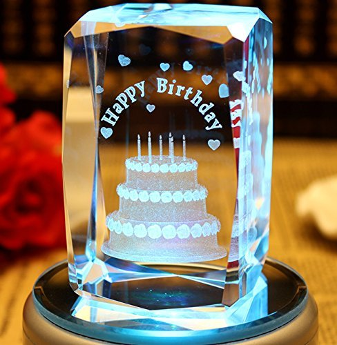 Birthday Glass Cube (shawn decor 3D Birthday Cake(Laser Etched) Paperweight Crystal Glass Cube Birthday (No Included LED Base))