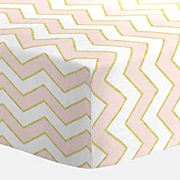 Carousel Designs Pale Pink and Gold Chevron Crib Sheet