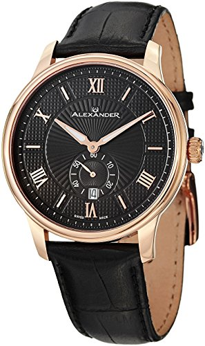 Alexander Statesman Regalia Men's Black Leather Strap Rose Gold Plated Swiss Made Watch -
