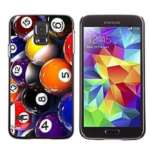 TopCaseStore / la caja del caucho duro de la cubierta de protección de la piel - Pool Billiard Balls Colorful Numbers Game Art - Samsung Galaxy S5 SM-G900