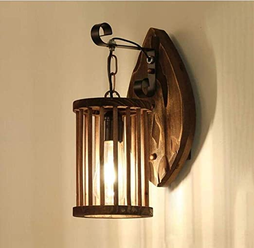 Llslls Estilo rural americano Lámpara de pared de madera vintage ...