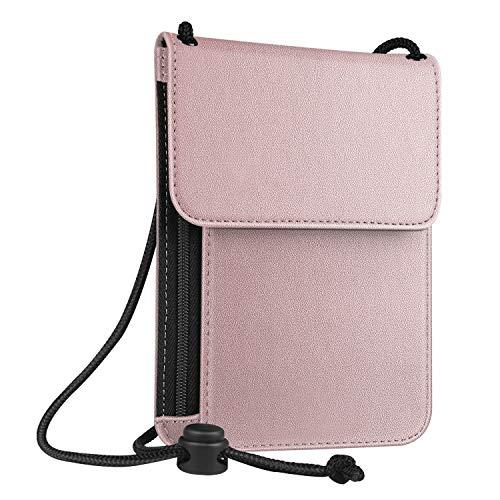 Fintie Passport Holder Neck Pouch [RFID Blocking] Premium PU Leather Travel Wallet, Rose Gold