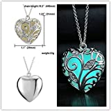 Rinhoo Glow in the Dark Heart Charms Pendant Necklace White Gold Plated