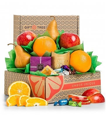 GiftTree Harvest Fruit and Snacks Sampler - Premium Chocolate & Fresh Fruit Gift Basket - Fresh Pears, Apples, Oranges, Almond Roca, Gourmet Chocolate Truffles & Cheese (Christmas Tree Sampler)