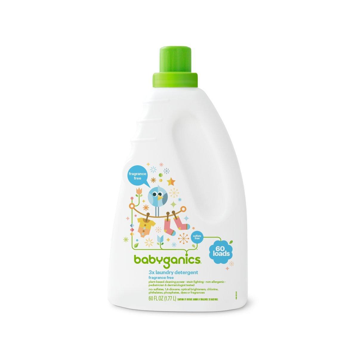 Babyganics 3X Baby Laundry Detergent, Fragrance Free, 60 Fluid Ounce by Babyganics