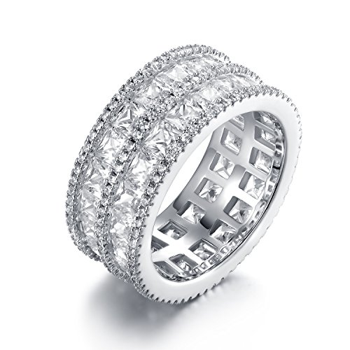 Cubic Zirconia Rhodium Brass Ring - Barzel Rhodium Plated 5-Row Princess-Cut Cubic Zirconia Wide Band Ring (7)