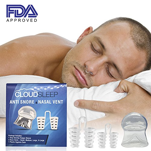 CLOUDSLEEP Anti Snoring Nose Vents Kit: 4 Pairs of Nasal Dilators in 4 Sizes + Anti Snore Mouth Guard Bundle  Easy to Use Silicone Snore Stopper Kit  Stop Snoring Solution Snoring Tongue Retainer by CLOUDSLEEP (Image #5)