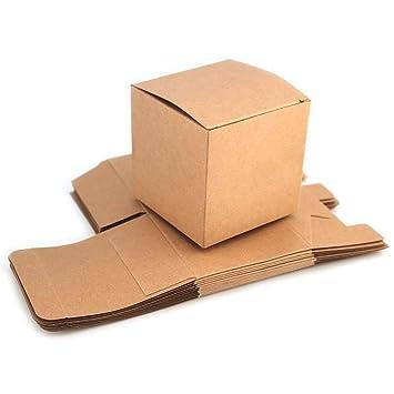 RUBY-50 Caja kraft de boda regalo Rústico Cajas Papel Kraft, para Guardar Bombones 7.6cmx7.6cmx7.6cm (7,6cmx 7,6cmx): Amazon.es: Hogar