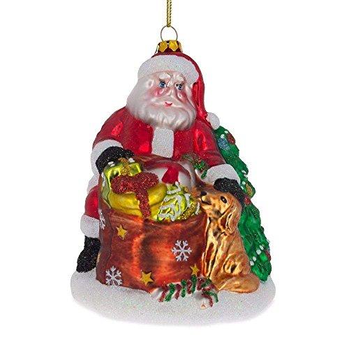 Retriever Glass Ornament - BestPysanky Santa with Golden Retriever Blown Glass Christmas Ornament 4.5 Inches