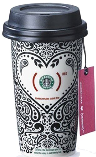 Starbucks (Red) 2010 collectible ceramic travel mug by Jonathan Adler from Oprah's list with Paisley's and peace signs and flowers in black-and-white and red