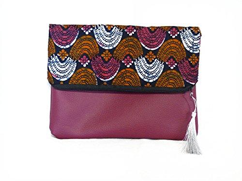 femme Sac Pochette Tissu Motif Sac 1 geometrique 2 Imprimé rabat Fleur a Africain en Sac Pochette Wax qFzXB8