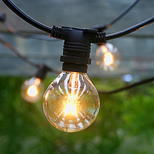 Fantado 50 Socket Outdoor Commercial Grade Patio String Light Set, G40 Clear Globe Bulbs, 54 FT Black Cord w/E12 C7 Base, Weatherproof by PaperLanternStore - Park Globe Patio