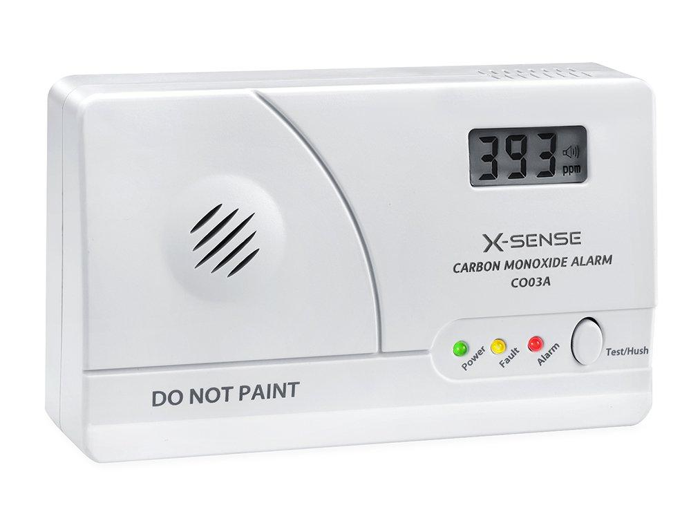 X-Sense CO Melder Kohlenmonoxidmelder mit Digitaler Anzeige, Batteriebetrieben, CO03A