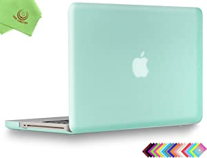UESWILL Smooth Soft-Touch Matte Hard Shell Case Cover for MacBook Pro 13 inch with CD-ROM (Non-Retina) (Model A1278) + Microfibre Cleaning Cloth, Green