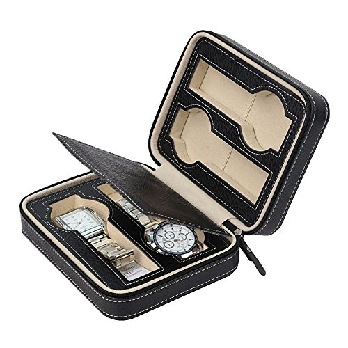 EleLight 4 Grids Watch Storage Display Box, Portable Travel Leather Watch Collector Storage Case for Men & Women as A Gift (Black) by EleLight (Image #1)