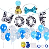 BINGPET Dog Birthday Party Supplies, Dog Birthday Hat and Bow - WOOF Letter Ballons - 20Pc Biodegradable Latex Balloons