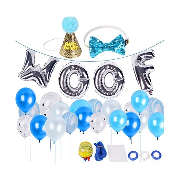 BINGPET Dog Birthday Party Supplies, Dog Birthday Hat and Bow – WOOF Letter Ballons – 20Pc Biodegradable Latex Balloons