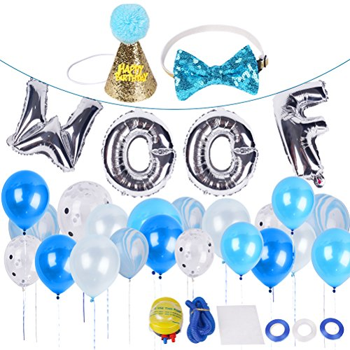 BINGPET Dog Birthday Party Supplies, Dog Birthday Hat and Bow - WOOF Letter Ballons - 20Pc Biodegradable Latex -