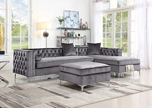 Iconic Home Melvin Modern Contemporary Velvet Square Storage Ottoman, Grey