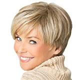 Western Inclined Bang Short Straight Wigs - 2017 new Stylish sexy Womens ladies Mix Blonde Natural Full Hair Wigs