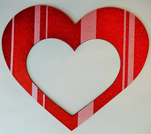 1 Pc Photo Booth Party Props No Sticks Attached Valentines Day Heart Frame Cute MDF Frame Red and Pink by picwrap (Image #2)