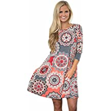 WYTong Clearance Womens Vintage Printed Boho Dress Long Sleeve Crewneck Mini Dresses for Party Beach