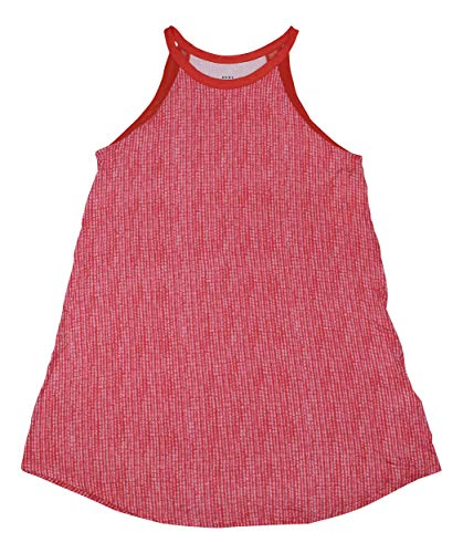 DKNY Sleeveless Mesh Trim Printed Chemise Nightgown (Red, -