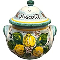 CERAMICHE D'ARTE PARRINI- Italian Ceramic Cookies Jar Biscotti Hand Painted Made in ITALY Tuscan Art Pottery
