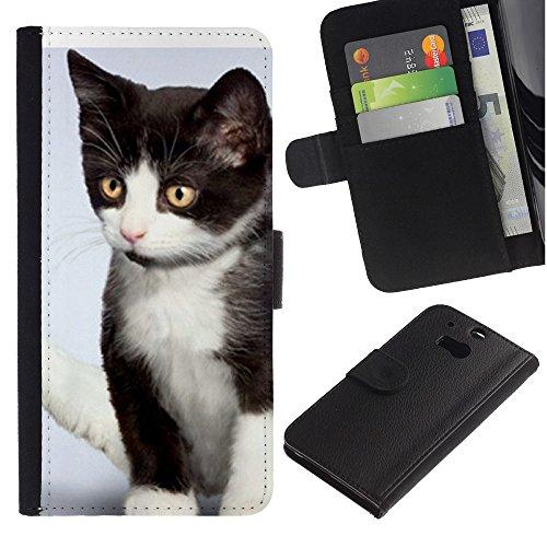 EuroCase - HTC One M8 - kitten mutt mongrel American wirehair - Cuero PU Delgado caso cubierta Shell Armor Funda Case Cover