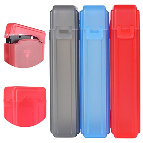 (KSB 3.5 Inches IDE/SATA HDD Hard Drive Protection Storage Box Case, Pack of 3 Assorted Colors (Grey/Blue/Red))