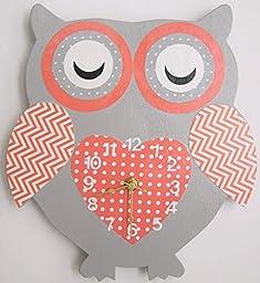 Nursery Wall Clock, Nursery Owl Clock, Hanging Owl Clock, Children\'s Room Wall Clock, Owl Wall Clock, Kid\'s Room Owl Wall Clock (Coral/Grey)