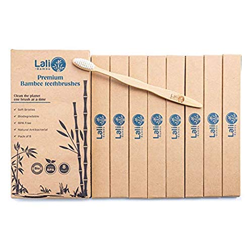Natural Bamboo Toothbrushes with Soft Nylon Bristles, Bamboo Toothbrush Pack of 8 by Lali Bamb