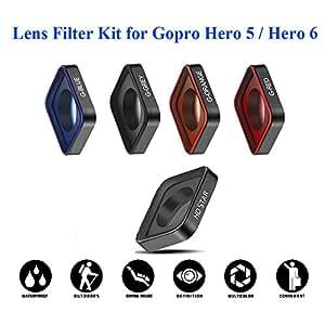 QKOO 5 in1 Lens Filter Kit HD Star + Gradient Filter G-Red/ G-Blue/ G-Orange/ G-Grey Kit For GoPro Hero 5 / Hero 6 Diving Underwater Sea Dive Skiing Climbing Shoot etc Outdoor Sport
