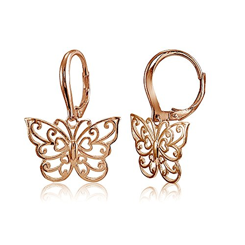 erling Silver High Polished Filigree Butterfly Leverback Earrings ()