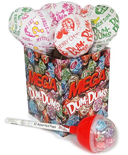 Dum Dums Mega Pop, Giant Lollipop Container with 12 Standard sized Hard Candy
