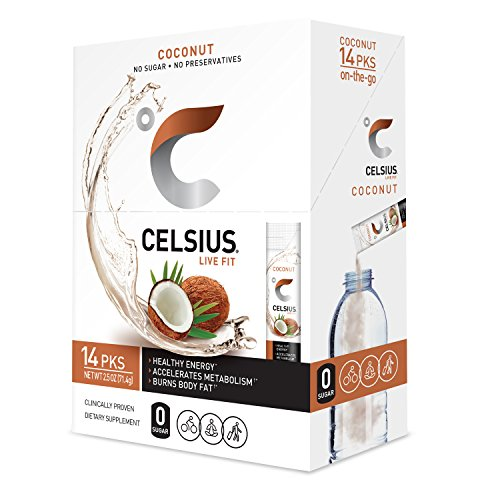 CELSIUS Coconut On-the-GO Powder Stick Packs, ZERO Sugar (14 Sticks per Pack)