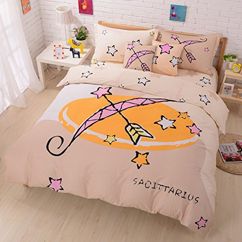 100% Cotton Cute Style Cartoon Bedding Set Twelve Constellation Printed Duvet Cover Set The Zodiac Duvet Cover Flat Sheet with Pillow Shame,No Comforter,Full Size (Sagittarius,#4)