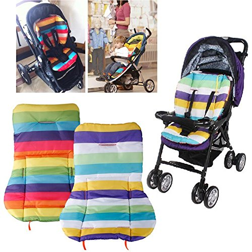 Eachbid 1 pc Cute Waterproof Cushion Padding Liner Seat Pad Rainbow For Baby Stroller Pram Random colour
