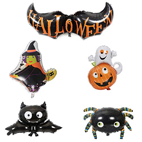 5 Pack Happy Halloween Balloons Bat Pumpkin Witch Cat Aluminum Foil Balloons with a Air Pump for Halloween Decoration Halloween Party Supplies ()