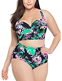 Women High Waist Ruched Bikini Set Plus Size Vintage Two Piece Swimwear