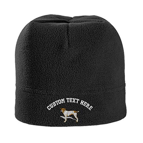 Custom Text Embroidered Jack Russell Terrier Dog #2 Unisex Adult Polyester/Spandex Stretch Fleece Beanie Skully Hat - Black, One Size