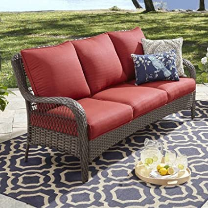 fcb9e6c388f6 Amazon.com : Better Homes and Gardens Colebrook Outdoor Sofa, Seats 3 -red  : Garden & Outdoor