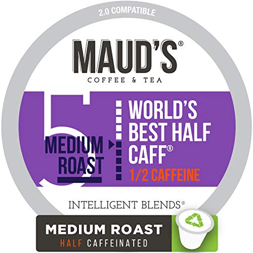 - Maud's Half Caff Coffee (World's Best Half Caff), 100ct. Recyclable Single Serve Coffee Pods - Richly satisfying arabica beans California Roasted, k-cup compatible including 2.0