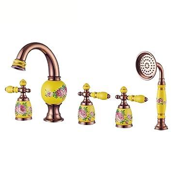 MulFaucet rubinetto miscelatore Faucet Bañera antigua dividida paisaje de porcelana blanca de tres agujeros amarillo: Amazon.es: Bricolaje y herramientas