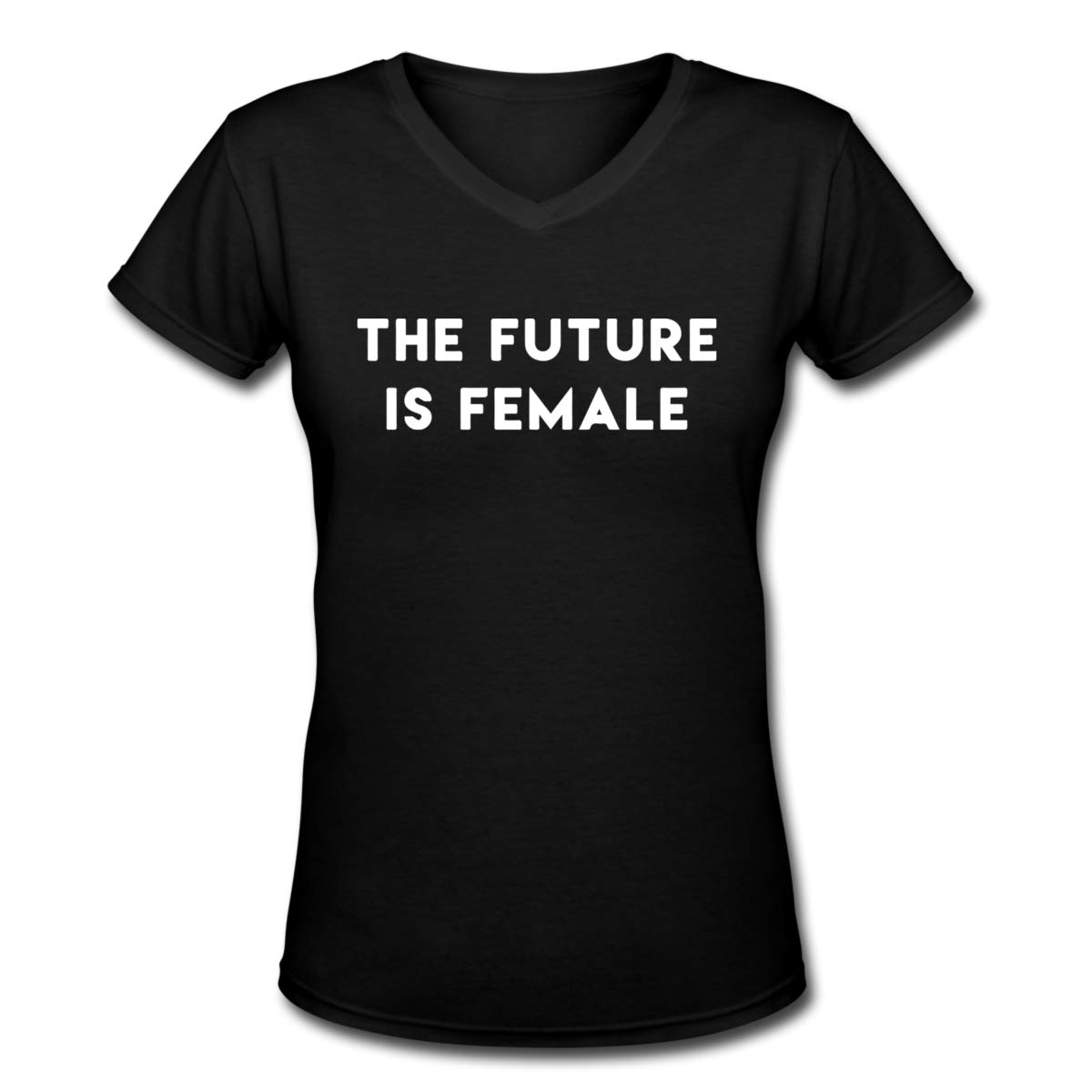 Women's T Shirt The Future is Female Tee Shirts Cotton T-Shirt Short-Sleeve V Neck Crop Top for Women Youth Girls Black XXL by BKashy