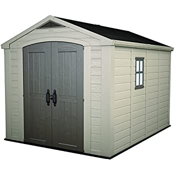 resin outdoor yard garden storage shed taupebrown