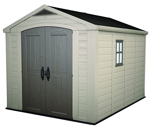 Keter Factor Large 8 x 11 ft. Resin Outdoor Yard Garden Storage Shed, Taupe/Brown (Shed Resin Wood Storage)