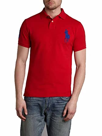 5e7c7fb6 Ralph Lauren Mens Polo Custom Fit Big Pony Mesh Shirt (Large, Red/Blue Pony)  at Amazon Men's Clothing store: